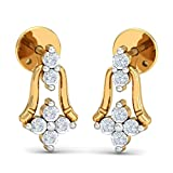 Kuberbox 14k (585) Yellow Gold and Diamond Ding-Dong Bell Stud Earrings