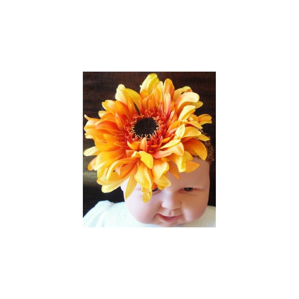Tandai Crochet Elastic Baby/Toddler Headband Orange Daisy Gerbera