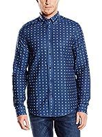 Ben Sherman Camisa Hombre Double Cloth Gingham (Azul Oscuro)