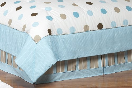 Blue And Brown Modern Polka Dots Queen Childrens Kids Bed Skirt By Sweet Jojo Designs front-224103