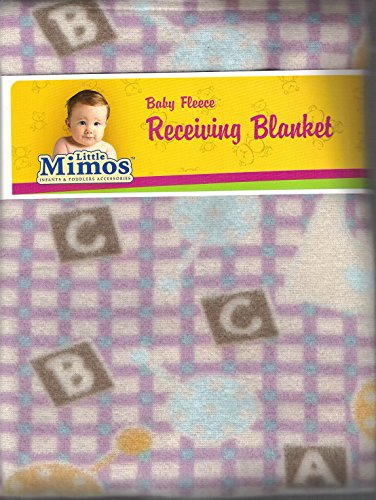 "Baby Fleece Receiving Blanket 30"" X 30"" Pink & Blue Checker Board with Alphabets By Little Mimos"
