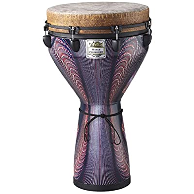 Remo 14 x 25 Inches Designer Series Key-Tuned Djembe, Black Earth Finish
