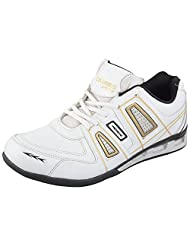 Columbus Men's White Blk Gold Satin Sports Shoes 10 UK