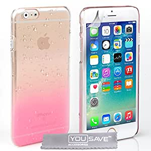 Yousave Accessories iPhone 6S Case Baby Pink / Clear Raindrop Hard Cover