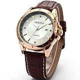 (オルキナ)Orkinaメンズゴールドホワイトダイヤル日付レザースポーツクォーツ腕時計贈り物ORK082