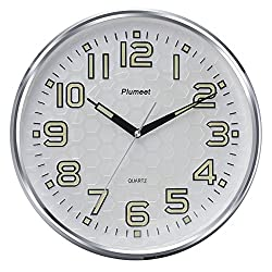 Plumeet 13-Inch Wall Clock with Silent Non-Ticking Night Lights Function Indoor Kitchen of Large Number,Easy to Read,Battery Operated Quartz Analog Movement Round Frame (Silver)