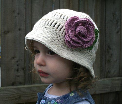 Crochet Pattern floppy summer hat with rose (67) (Crochet hats)
