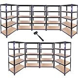 9 x 90cm Black Garage Shelving Units / Utility Shed / Warehouse Shelving Bays