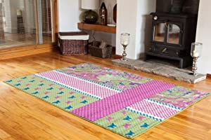 Milan Green, Pink, Blue & Cream Shabby Chic Rug 1657-U22 - 4 Sizes from The Rug House