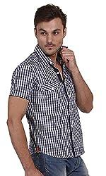 Yuvi Men's Slim Fit Cotton Shirt (10002017_White Blue_M)
