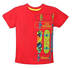 Vitamins Boys' T-Shirt (08Tb-417-4-Red_Red_4 - 5 Years)