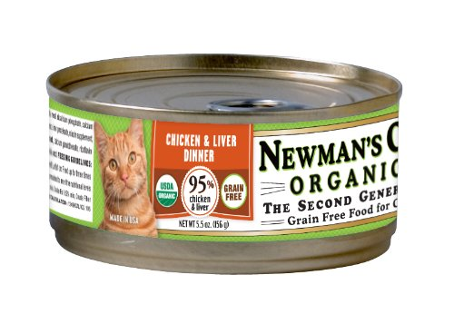 Newman's Own Organics Chicken and Liver Grain-Free Food for Cats, 5.5-Ounce (Pack of 24)