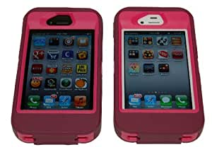 Iphone 4 4s Defender Body Armor Case Plum on Peony Pink Comparable to Otterbox Defender + Cool Colors Usb Cord and Breast Cancer Awareness Silicone Bracelet
