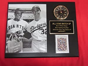 Willie Mays Sandy Koufax ALL STAR GAME Collectors Clock Plaque w 8x10 RARE Photo and... by J & C Baseball Clubhouse