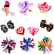 My Little Legs 10 piece Girl Baby Toddler Ribbon Bows Variety pack Hair Clip Barettes on MLL