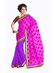 AG Lifestyle Pink & Purple Viscose Saree With Unstitched Blouse 2DVY2014A