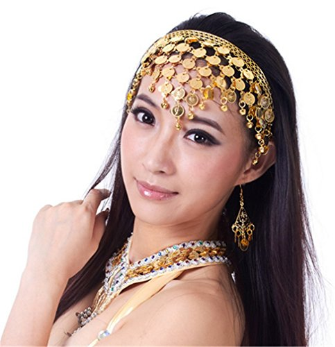 Dreamspell Belly Dance Tribal Metal Headband With Gold Coins, Gypsy Egyptian Jewelry