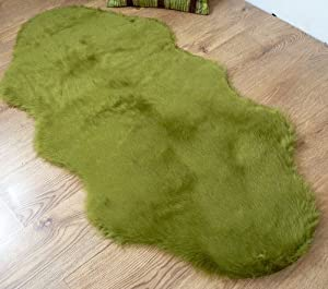 Moss Lime Green faux fur double sheepskin rug 70 x 140 cm