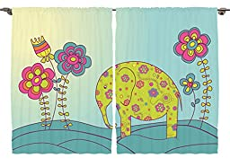 Ambesonne Girls Boys Kids Toddlers Baby Room Animal Decor Collection, Colorful Cute Elephant on Meadow Fairy Nature Art Print, Window Treatments for Kids Bedroom Curtain 2 Panels Set, 108X63 Inches