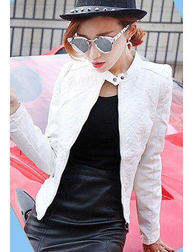 Giubbino Da donna Casual Primavera Vintage,Tinta unita Colletto alla coreana PU (Poliuretano) Rosa / Bianco / Nero Manica lungaMedio , white , l