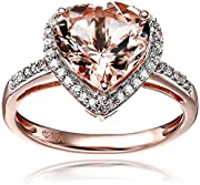 10k Rose Gold Morganite and Diamond Heart Halo Engagement Ring (1/5cttw, H-I Color, I1-I2 Clarity), Size 7