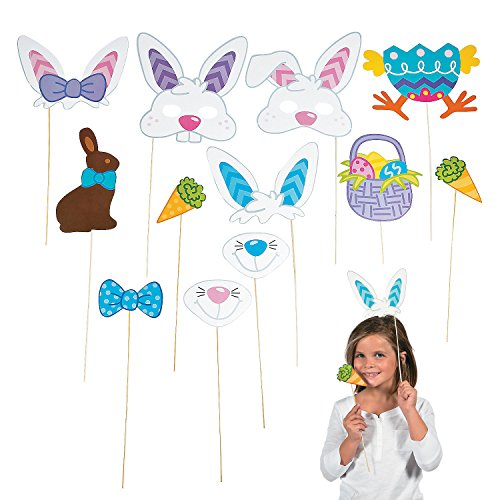 Easter Photo Booth Egg Hunt Party Stick Props - includes Bunny Rabbit Ears Carrot Basket and More - 12 pcs - 1