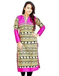 Aarti Collections Women's Cotton Kurti (AC-870B_Pink Black Yellow_X-Large)
