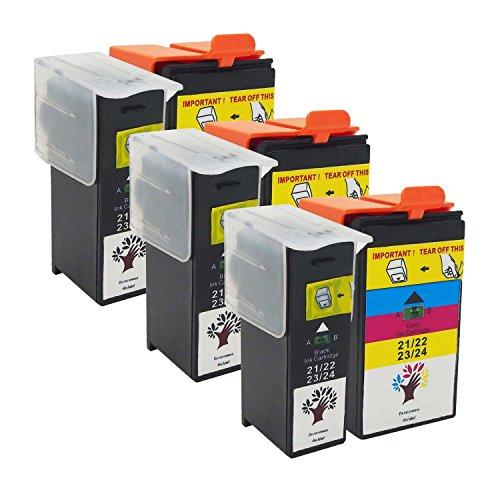 GREENSKY 6 Pack(3 Black & 3 Color) High Yield Compatible Ink Cartridge For Dell Series 21/ 22/ 23/ 24 P513w P713w V313 V313w V715w V515w