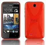 Cadorabo ! X-TPU Bumper Silicon cover for HTC Desire 300 in red