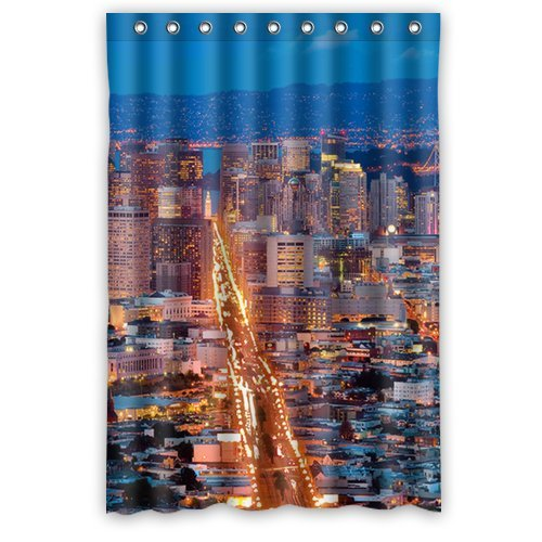 Custom Unique Design San Francisco City Waterproof Fabric Shower Curtain, 72 By 48-Inch front-317271