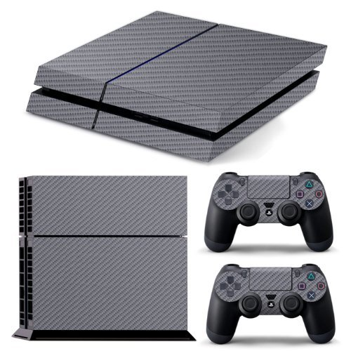 ps4-textured-grey-silver-carbon-fibre-skin-wrap-cover-decal-cover-for-sony-playstation-4-2x-matching