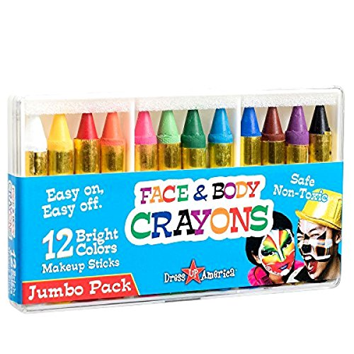 12 Color Face Paint Safe & Non-Toxic Face and Body Crayons Dress Up America (Darth Maul Face Paint)