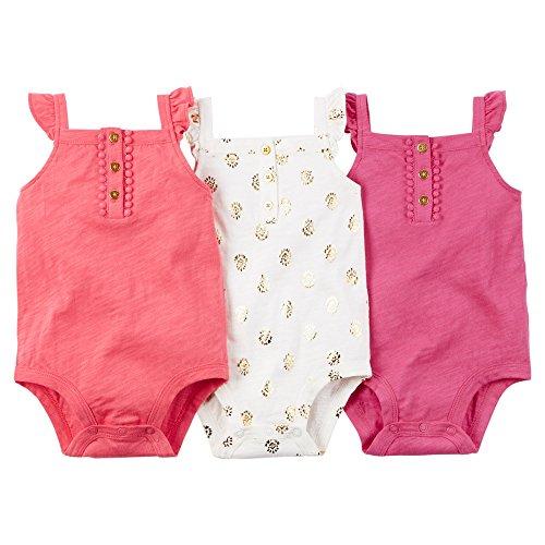 Carter's 3-Pack Sleeveless Bodysuits, Pink, 3 Months