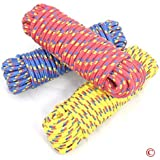 "Kathy Mall 1/4"" Diameter X 50' Feet Diamond Braided Polypropylene Rope, Multi-color (Various: Red, Yellow, White, or Blue): High Visibility, Lightweight, Floats, Mold-resistant"