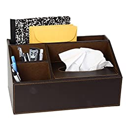 Brown Leather Design Supplies Organizer With Built In Tissue Box. 4 Compartment Desktop Organizer