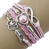 Doinshop Infinity Love Heart Pearl Friendship Antique Leather...
