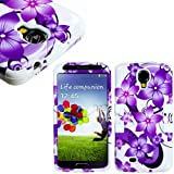 "myLife White - Purple Floral Wave Design (3 Piece Hybrid) Hard and Soft Case for the Samsung Galaxy S4 ""Fits Models... by myLife Brand Products"