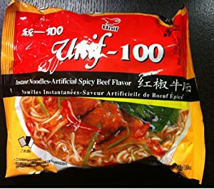 Unif-100 Instant Noodles -Artificial Spicy Beef Flavor 3.80oz/108g (Pack of 5)