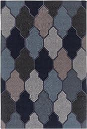 Blue Wool Rug Nautical Design 5-Foot x 7-Foot 6-Inch Hand-Made Trellis Carpet