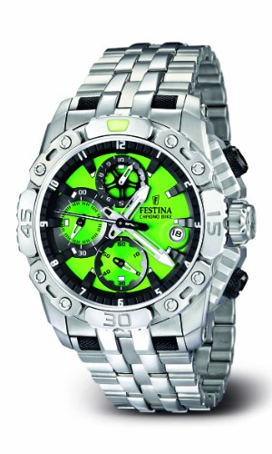 Festina Men's Bike 2011 Chronograph Watch F16542/8 with Stainless Steel Strap and Green Dial