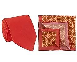 Chokore Red Silk Tie & Red and Orange Pocket Square set