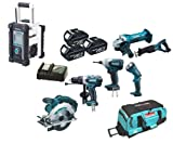 Makita 18V LXT Li Ion LXT600 6 Piece Kit And BMR100W White Job Site Radio