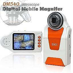 Indigi Digital Magnifier Microscope 10x-500x Magnification 4x LED Light 2.7\