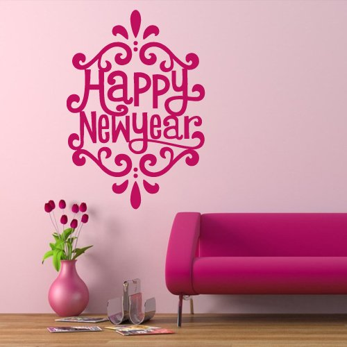 Wall Decal Decor Decals Art Happy New Year Inscription Congratulation Holiday Curl Gift (M671) front-470530