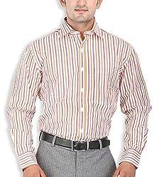 SPEAK Red White Stripes Cotton Mens Formal Shirt