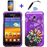 (4 items Combo: Stylus Pen, Screen Protector Film, Case Opener, Graphic Case) Purple Butterfly Orange Pink Green Color Daisy Flower Design Rubberized Snap on Hard Shell Cover Faceplate Skin Phone Case for (Sprint) Samsung Epic Touch D710 Galaxy SII , (US Cellular) Samsung Galaxy S2 R760