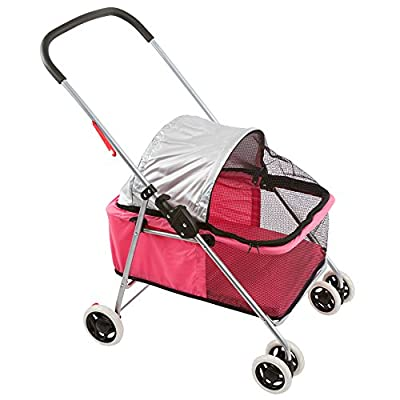 Basket-Style Portable Folding Pet Carrier Stroller