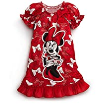 Disney Minnie Mouse Red Bow Nightshirt Nightgown Pajama 2 3 4 5 6 7 8 10