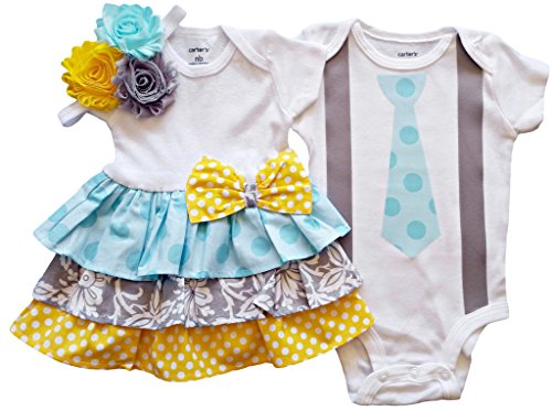 Boy Girl Twin Outfits Grace and Grayson by Perfect Pairz USA Made Outfit (Made Outfit)