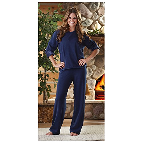 Women'S Guide Gear Satin Trim Fleece Pajamas, Pink, Xl